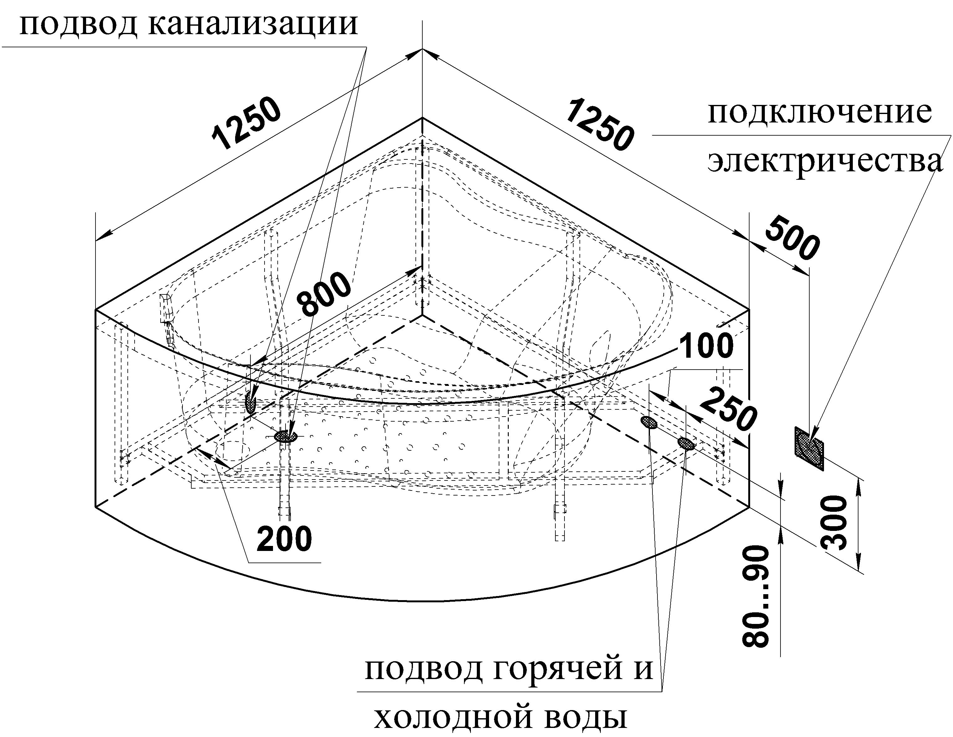 Фото 1012: Акриловая ванна Радомир (Vannesa) Альтея 125 х 125