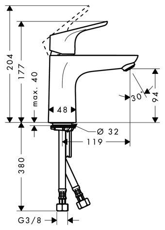 Фото 9532: Смеситель для раковины 100 мм без донного клапана Hansgrohe Focus (31517000)
