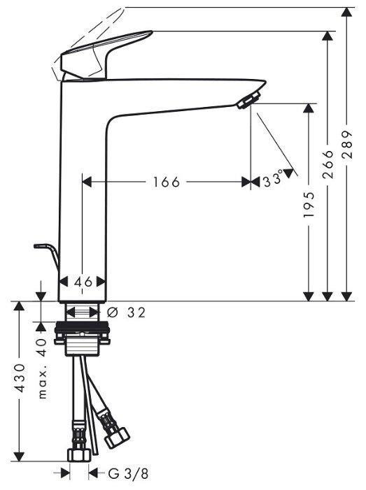 Фото 4697: Смеситель для раковины 190 мм Hansgrohe Logis (71090000)