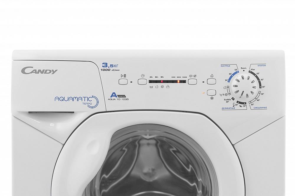 Фото 4979: Комплект: мини стиральная машина под раковину Candy 1d1035 с раковиной Buta (литьевой мрамор)