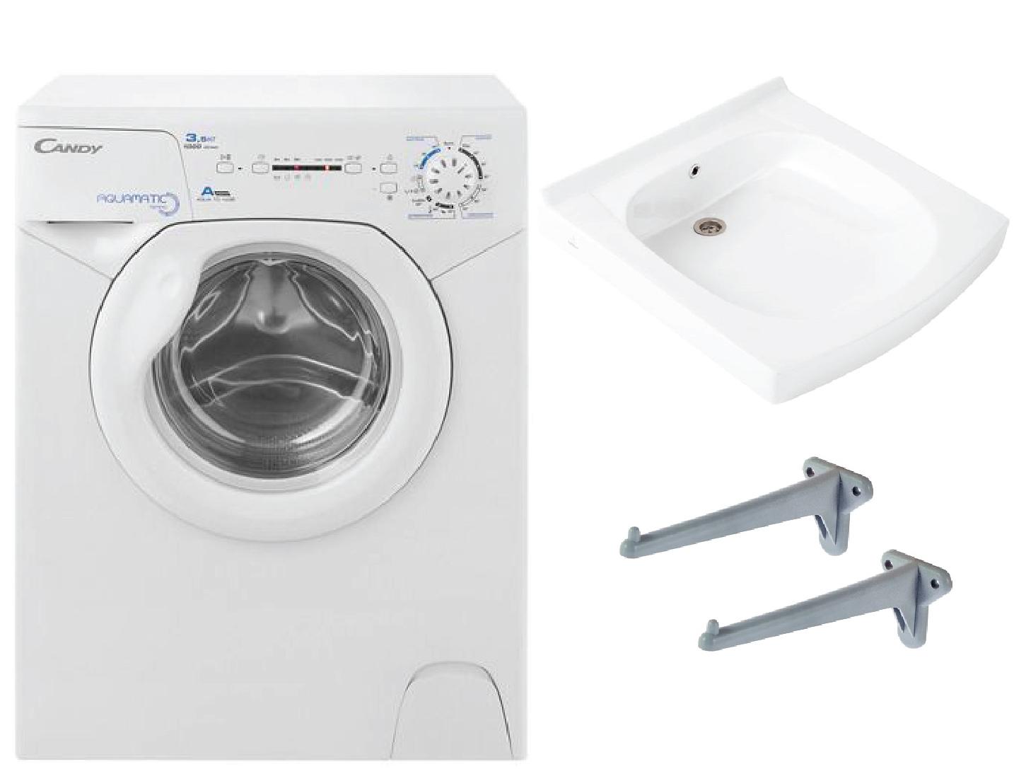 Фото 6967: Комплект: мини стиральная машина под раковину Candy 1d1035 с раковиной Элегантс (Кувшинка)