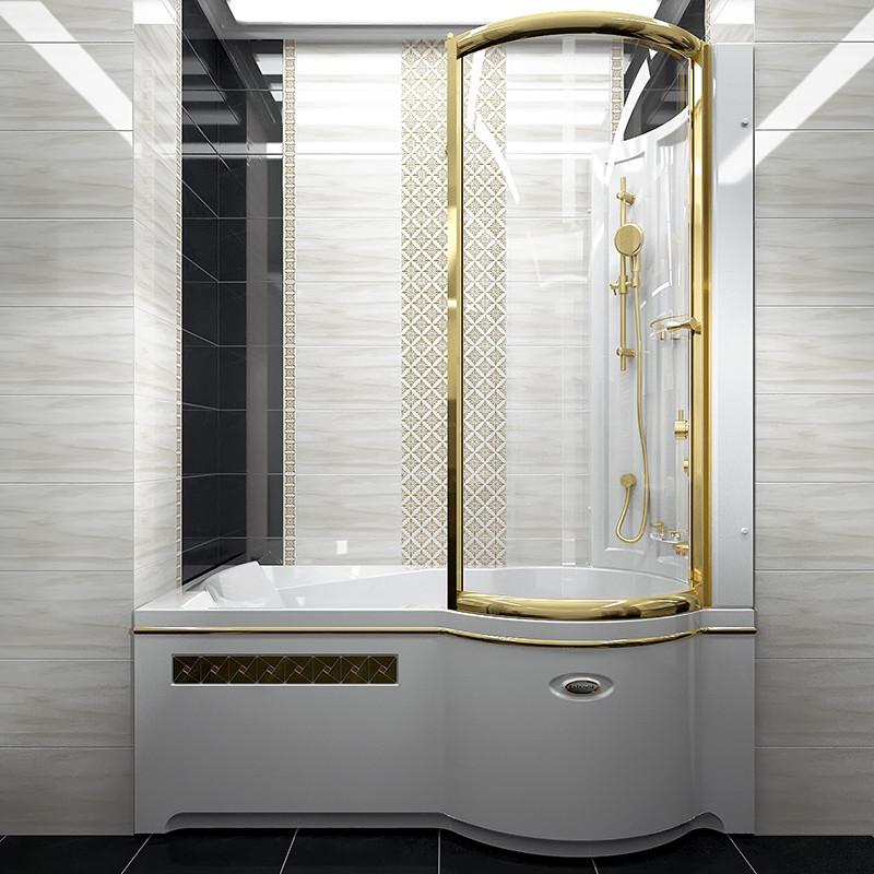 Фото 5162: Стенка со стеклянной шторкой Радомир Gold на ванну Валенсия
