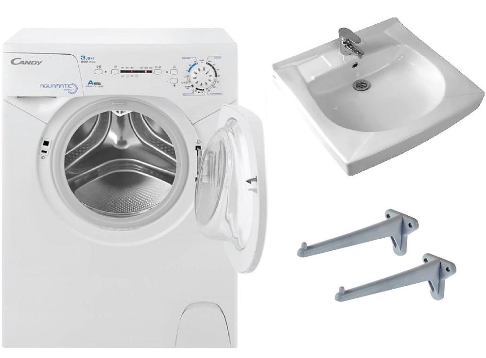 Фото 5425: Комплект: мини стиральная машина под раковину Candy 114D2 с раковиной Пилот 50/60