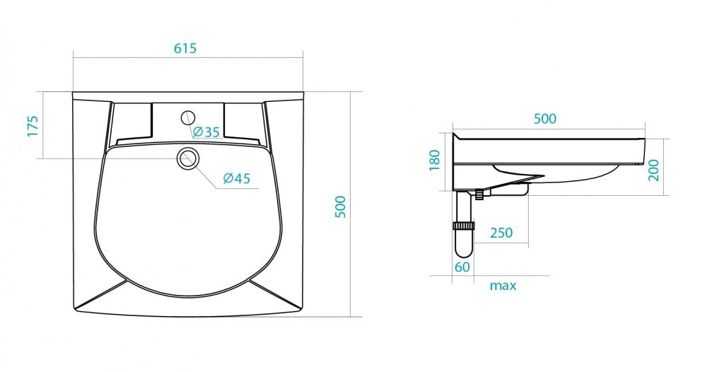 Фото 9493: Комплект: мини стиральная машина под раковину Candy 114D2 с раковиной Пилот 50/60