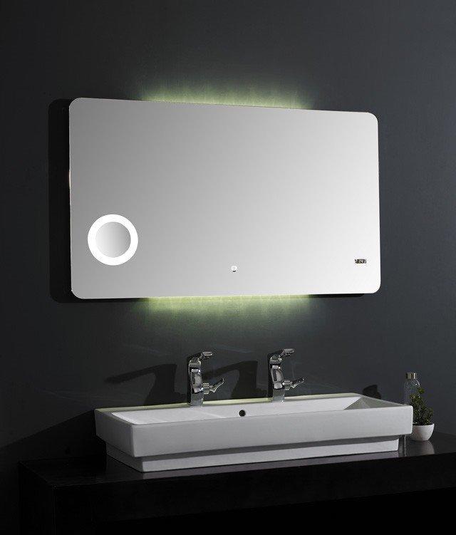 Фото 5967: Зеркало Акватон ЭЛИО 100 с подсветкой, часами и увеличительным зеркалом 1A194202EO010