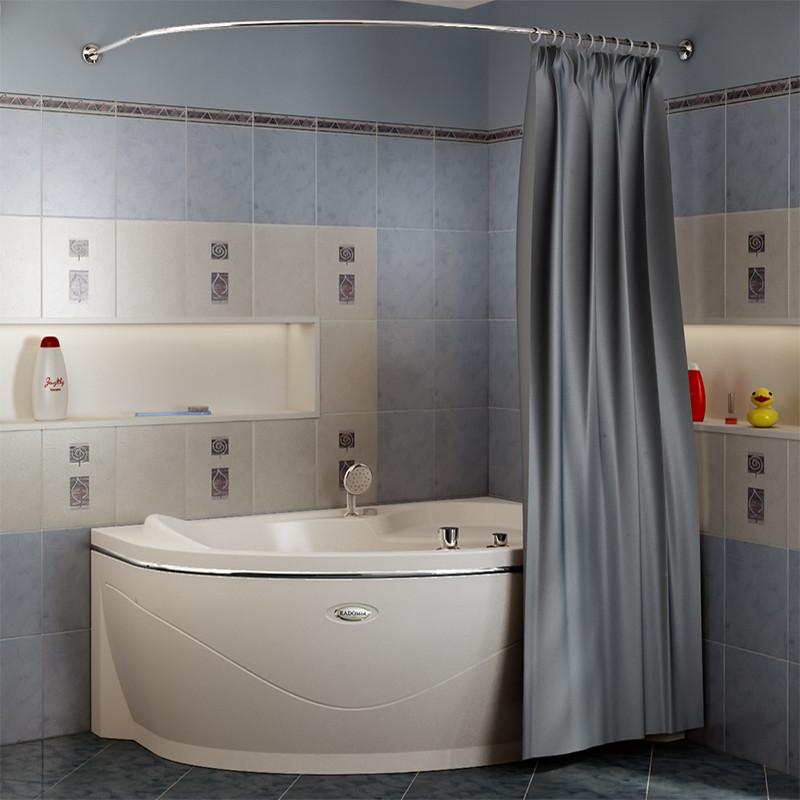 Фото 4086: Сантехника///Аксессуары для ванных///Карниз для ванн RADOMIR Карниз Chrome для шторки на ванну Амелия