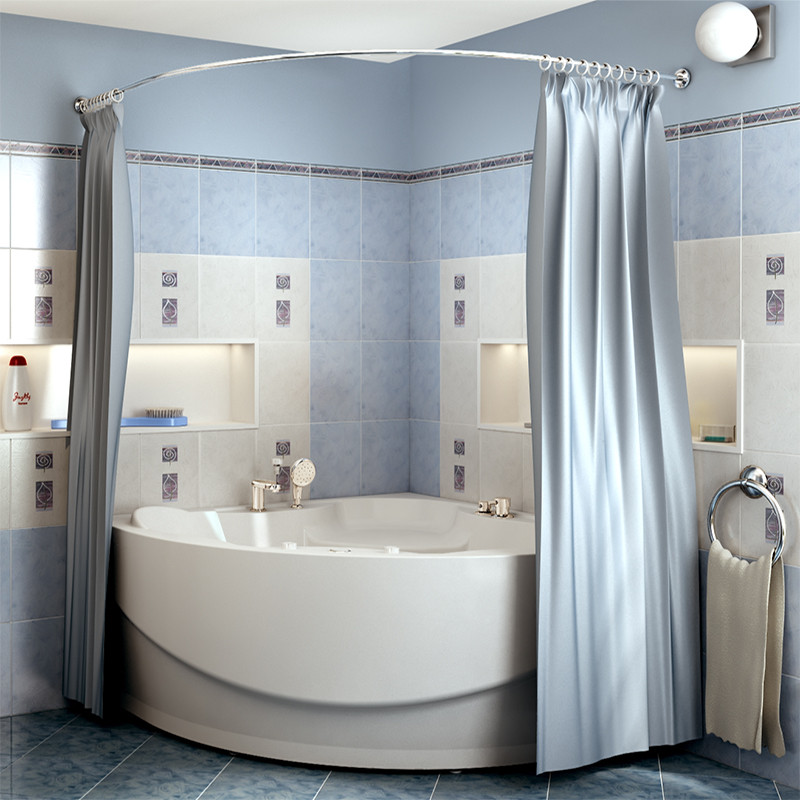 Фото 462: Сантехника///Аксессуары для ванных///Карниз для ванн RADOMIR Карниз Chrome для шторки на ванну Элджин