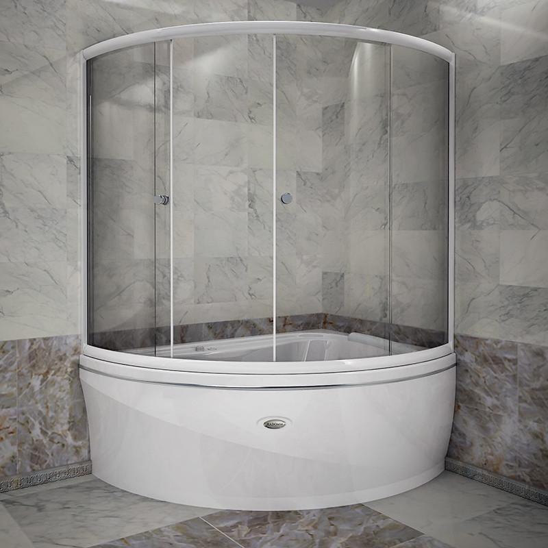 Фото 4864: Стеклянная шторка для ванн Радомир Альбена с белым профилем