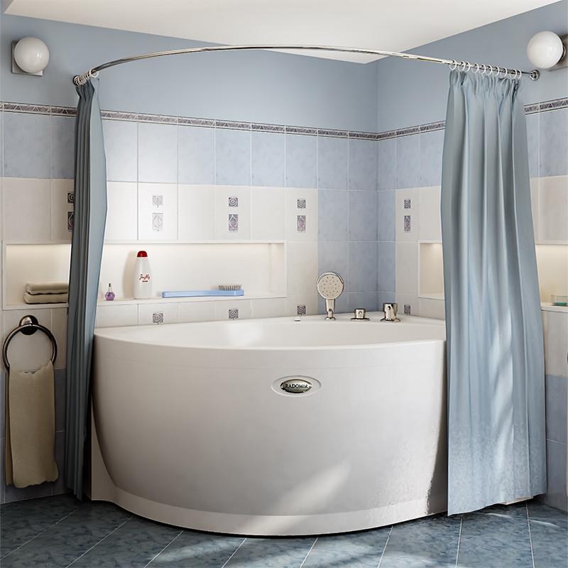 Фото 5916: Сантехника///Аксессуары для ванных///Карниз для ванн RADOMIR Карниз Chrome для шторки на ванну Модерна