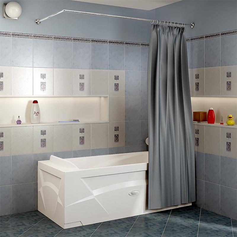 Фото 4092: Сантехника///Аксессуары для ванных///Карниз для ванн RADOMIR Карниз Г-образный (1700x750 мм) для шторки на прямоугольную ванну