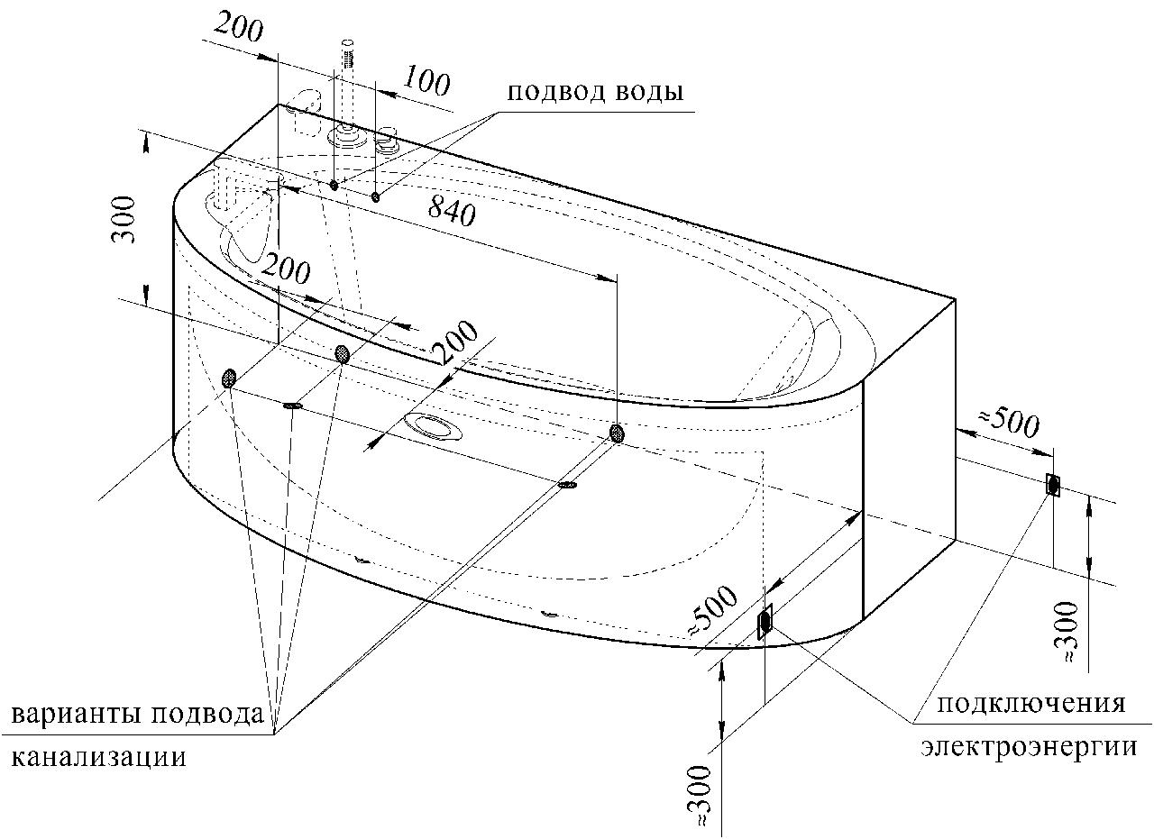 Фото 2085: Акриловая ванна без системы гидромассажа Радомир Неаполи