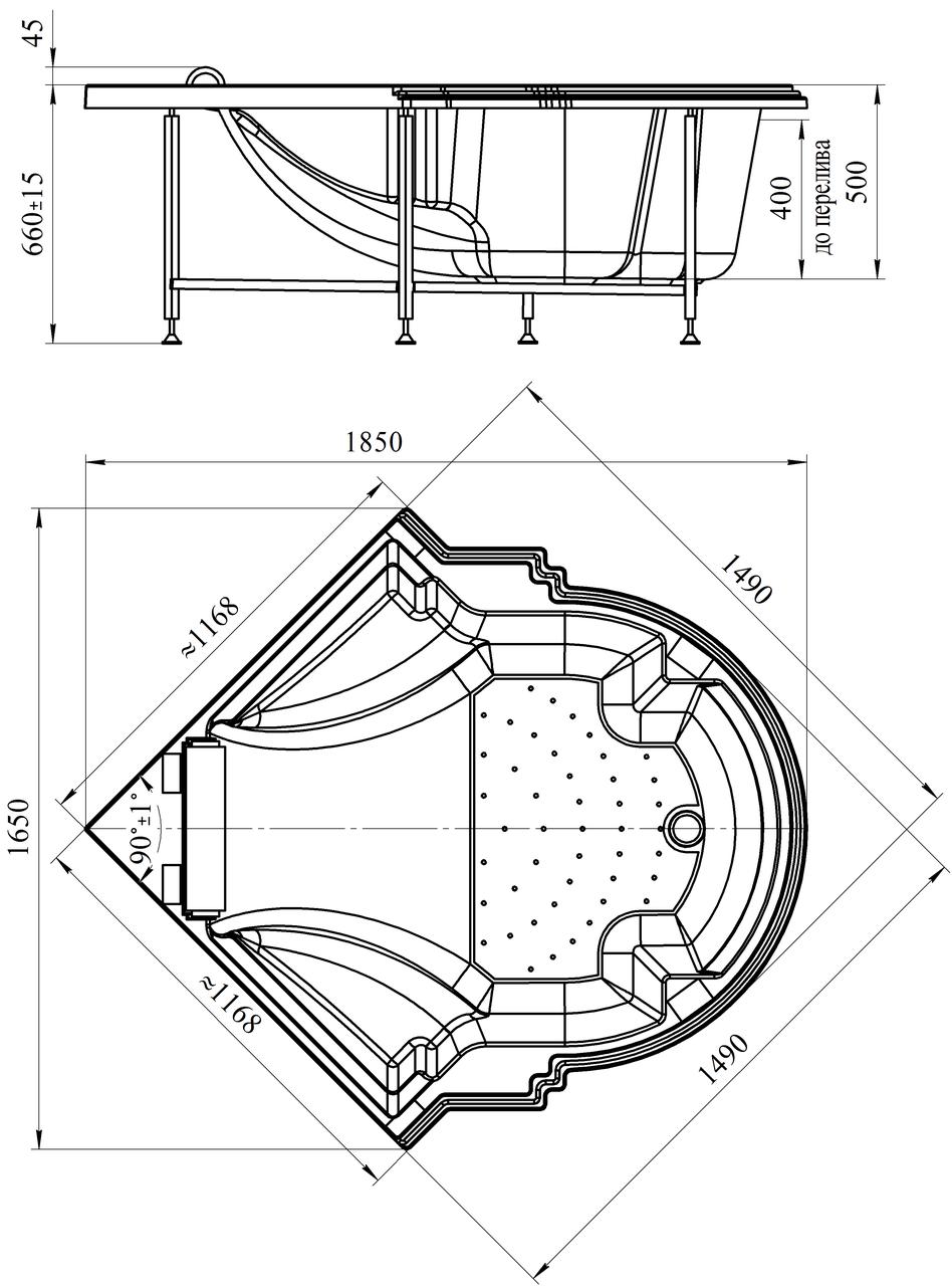 Фото 7088: Акриловая ванна без системы гидромассажа Радомир (Fra Grande) Монте-карло с панелью