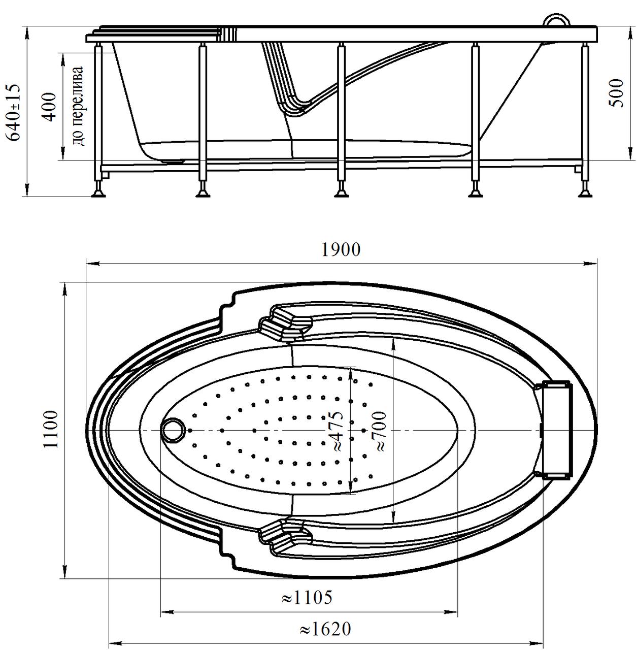 Фото 2586: Акриловая ванна без системы гидромассажа Радомир (Fra Grande) Ницца с панелью