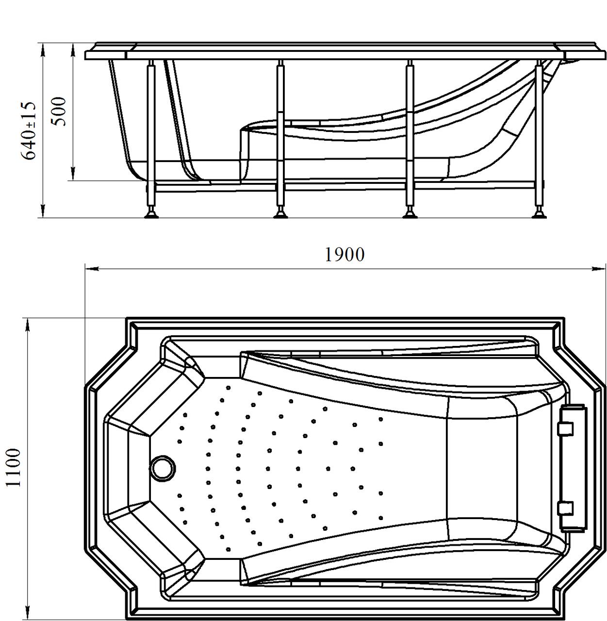 Фото 9688: Акриловая ванна без системы гидромассажа Радомир (Fra Grande) Эстелона с панелью