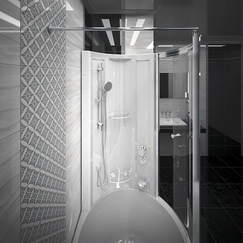Фото 9118: Стенка Радомир со стеклянной шторкой Chrome на ванну Валенсия