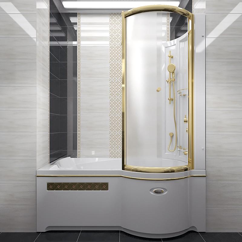 Фото 6062: Стенка со стеклянной шторкой Радомир Gold на ванну Валенсия