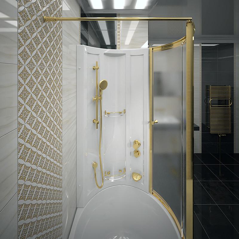 Фото 7955: Стенка со стеклянной шторкой Радомир Gold на ванну Валенсия