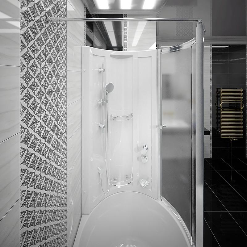 Фото 5598: Стенка Радомир со стеклянной шторкой Chrome на ванну Валенсия