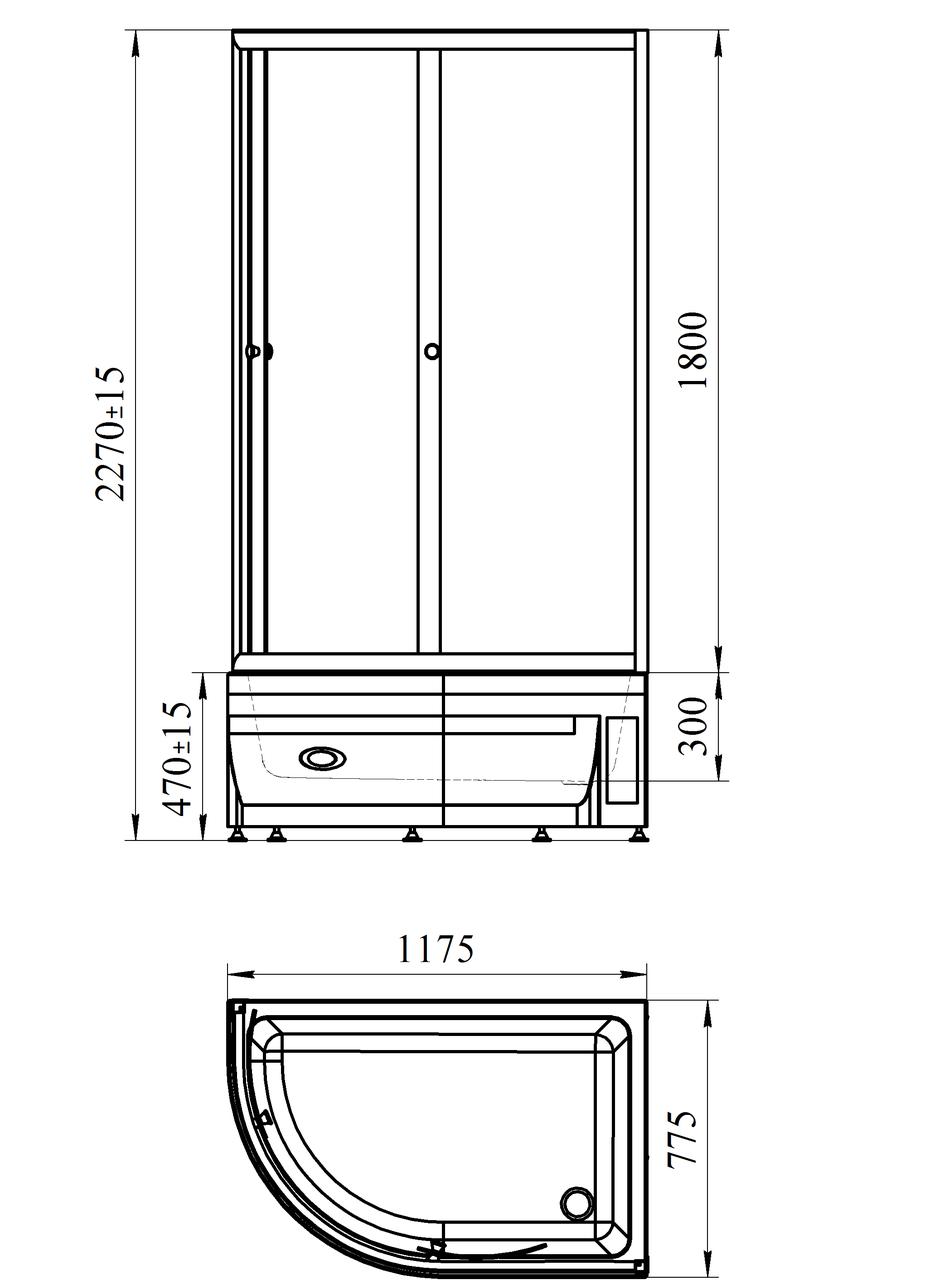 Фото 8034: Душевой угол Радомир 120x80 с высоким поддоном