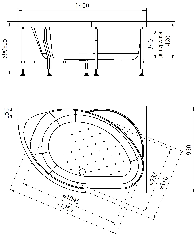Фото 437: Акриловая ванна без системы гидромассажа Радомир (Vannesa) Мелани