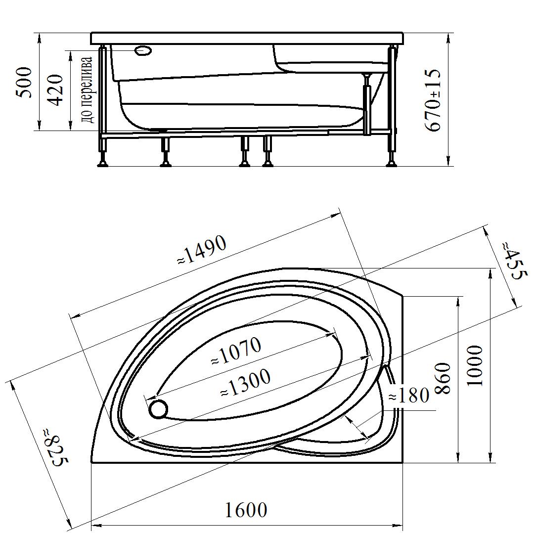 Фото 9279: Акриловая ванна без системы гидромассажа Радомир (Vannesa) Модерна