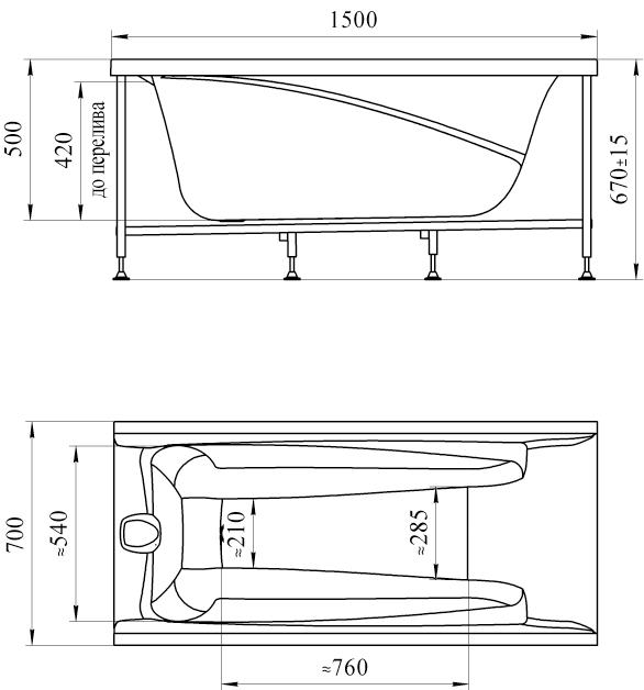 Фото 5469: Акриловая ванна без системы гидромассажа Радомир (Vannesa) Орнела