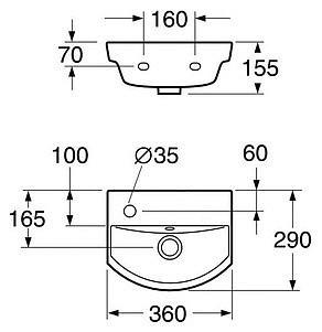 Фото 3283: Раковина Gustavsberg Logic 5393 53939L01 без смесителя, для установки на болтах или кронштейнах (36*29 см)