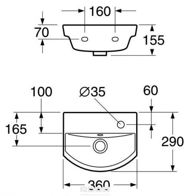 Фото 1475: Раковина Gustavsberg Logic 5393 53939R01 без смесителя, для установки на болтах или кронштейнах (36*29 см)