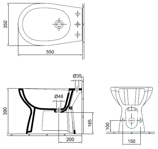 Фото 5395: Биде Gustavsberg Basic 15600 GB1560050001 без смесителя