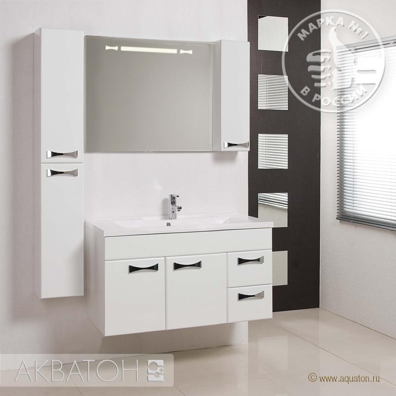 Фото 2662: Зеркало шкаф Акватон ДИОР 100 белый 1A167902DR01R