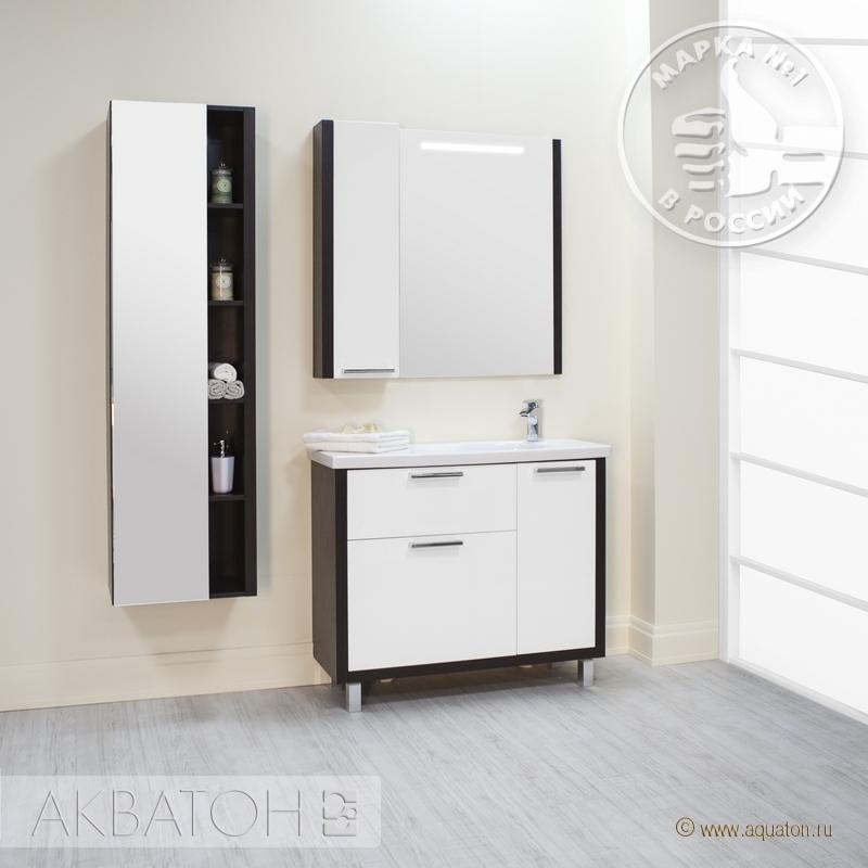 Фото 6775: Зеркало шкаф Акватон БРАЙТОН 100 венге 1A176702BR500