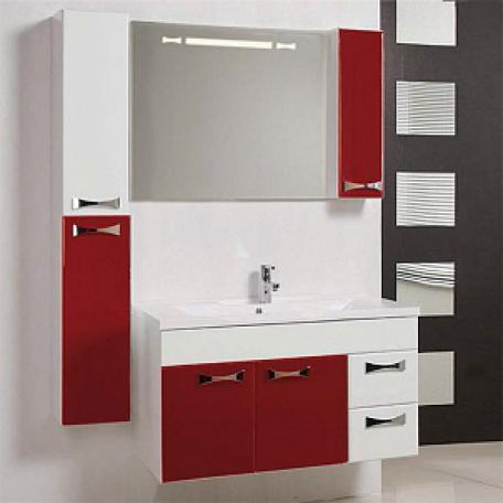 Фото 9420: Зеркало шкаф Акватон ДИОР 100 бело-бордовый 1A167902DR94R