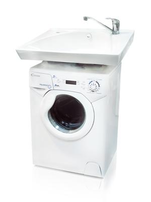 Фото 2: Комплект: мини стиральная машина под раковину Candy 1d1035 с раковиной Компакт (Кувшинка)