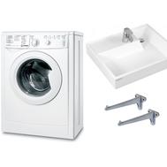 Фото 7068: Комплект: стиральная машина под раковину Indesit IWUB 4105 с раковиной Юпитер 50