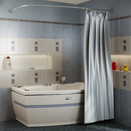 Фото 3963: Сантехника///Аксессуары для ванных///Карниз для ванн RADOMIR Карниз Chrome для шторки на ванну Аризона