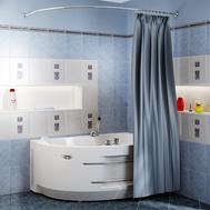 Фото 1175: Сантехника///Аксессуары для ванных///Карниз для ванн RADOMIR Карниз Chrome для шторки на ванну Ирма