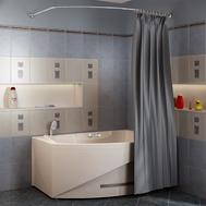 Фото 824: Сантехника///Аксессуары для ванных///Карниз для ванн RADOMIR Карниз Chrome для шторки на ванну Монти