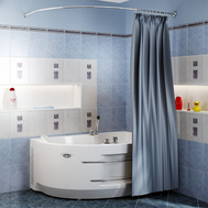 Фото 6039: Сантехника///Аксессуары для ванных///Карниз для ванн RADOMIR Карниз Chrome для шторки на ванну Ирма 2